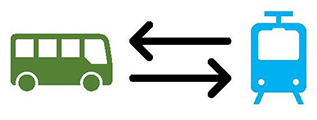 icon bus and train