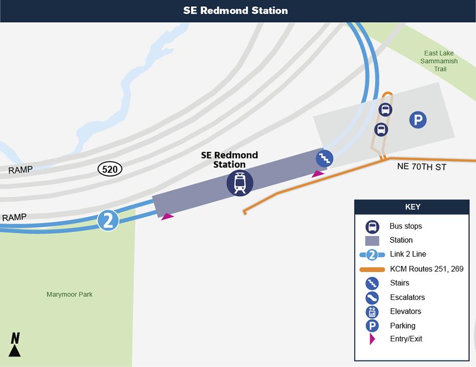 Bản đồ địa điểm này cho thấy vị trí của ga Southeast Redmond đối với khu phố xung             quanh, nêu ra các đường phố lân cận, trạm xe buýt và các lộ trình             được đề nghị sẽ phục vụ khi nó mở cửa.