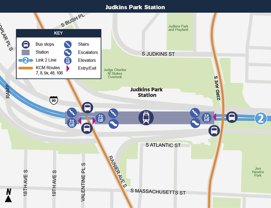 Sơ đồ địa điểm: Bản đồ địa điểm này cho thấy vị trí của Ga Judkins Park đối với khu phố xung             quanh, nêu ra các đường phố lân cận, trạm xe buýt và các lộ trình             được đề nghị sẽ phục vụ khi mở cửa.