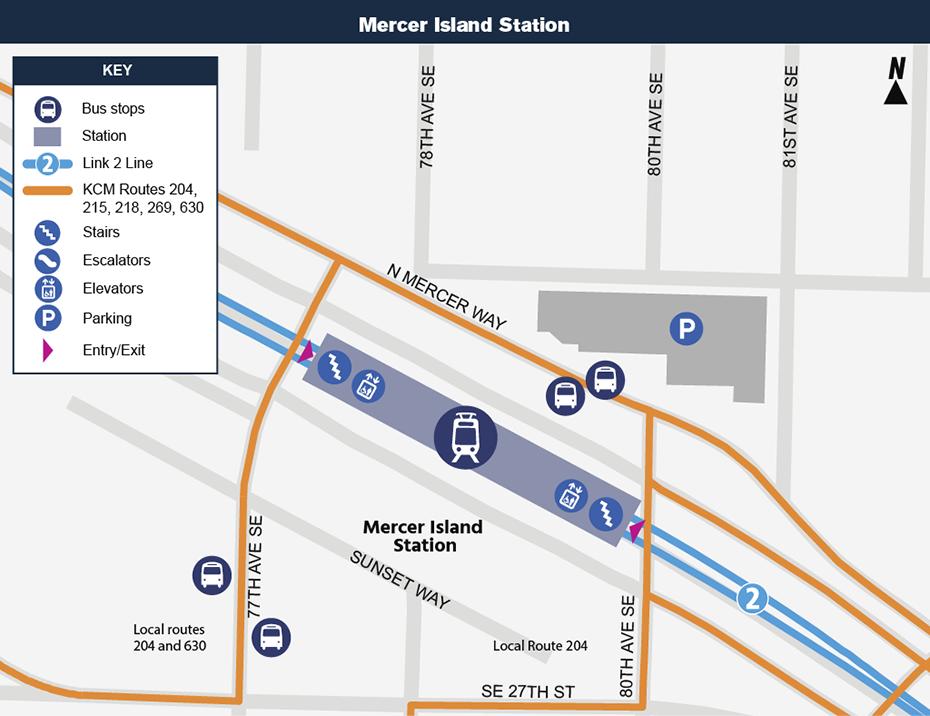 Bản đồ địa điểm này cho thấy vị trí của Ga Mercer Island đối với khu phố xung             quanh, nêu ra các đường phố lân cận, trạm xe buýt và các lộ trình             được đề nghị sẽ phục vụ khi nó mở cửa.