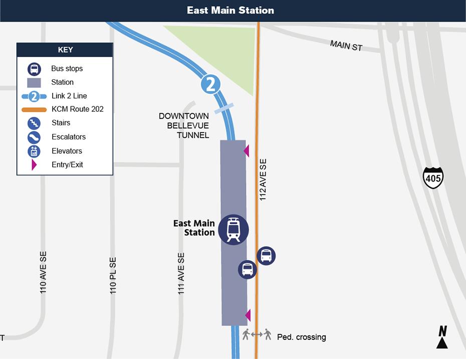 Bản đồ địa điểm này cho thấy vị trí của Ga East Main đối với khu phố xung quanh,             nêu ra các đường phố lân cận, trạm xe buýt và các lộ trình được             đề nghị sẽ phục vụ khi mở cửa.