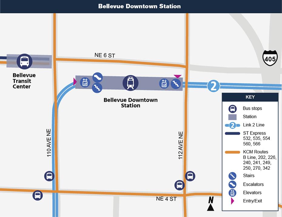 Bản đồ địa điểm này cho thấy vị trí của Ga Bellevue Downtown đối với khu vực trung             tâm thành phố xung quanh, nêu ra các đường phố lân cận, trạm xe buýt             và các lộ trình được đề nghị sẽ phục vụ khi mở cửa.
