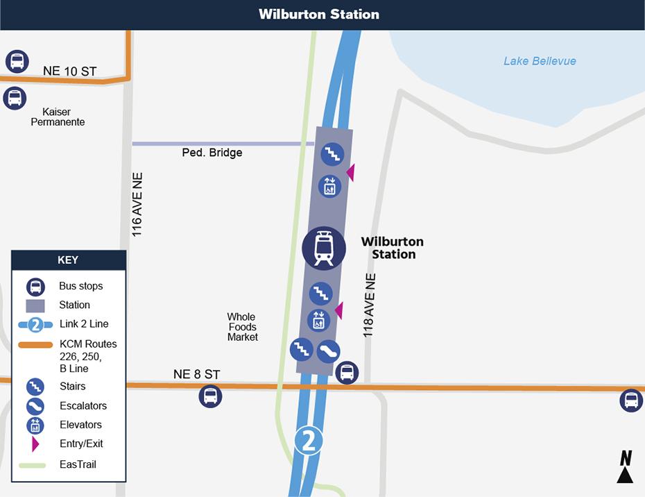 Bản đồ địa điểm này cho thấy vị trí của Ga Wilburton đối với khu phố xung quanh,             nêu ra các đường phố lân cận, trạm xe buýt và các lộ trình được             đề nghị sẽ phục vụ khi nó mở cửa.
