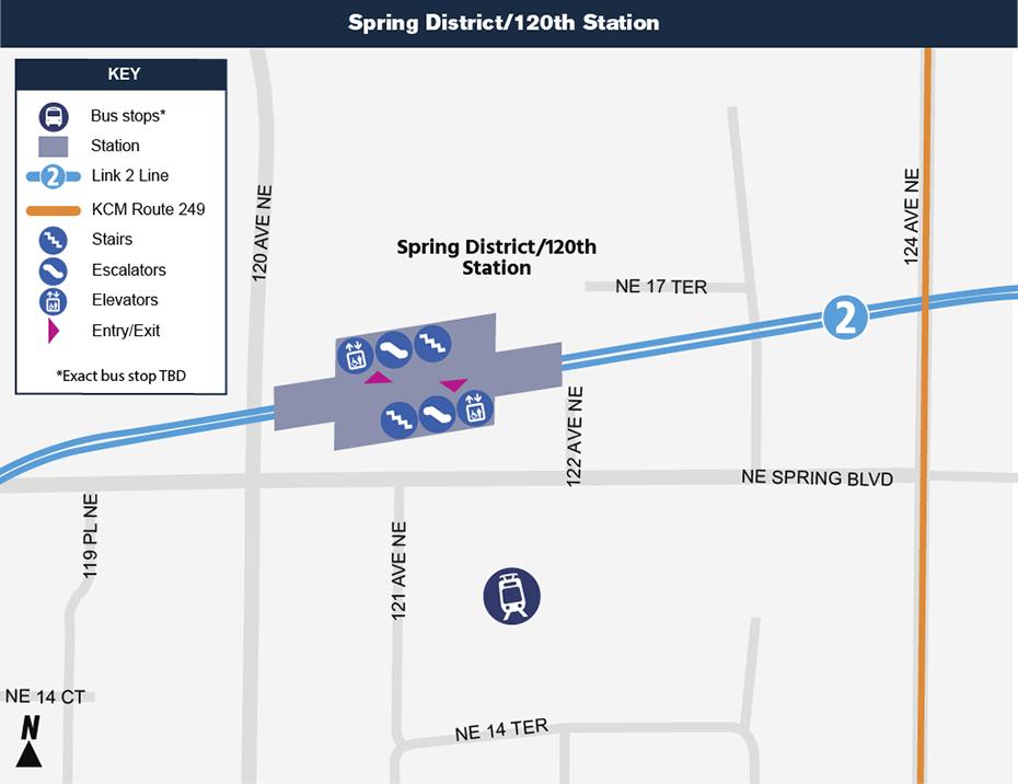 Bản đồ địa điểm này cho thấy vị trí của Ga Spring District /120th đối với khu phố             xung quanh, nêu ra các đường phố lân cận, trạm xe buýt và lộ trình được             đề nghị sẽ phục vụ khi mở cửa.