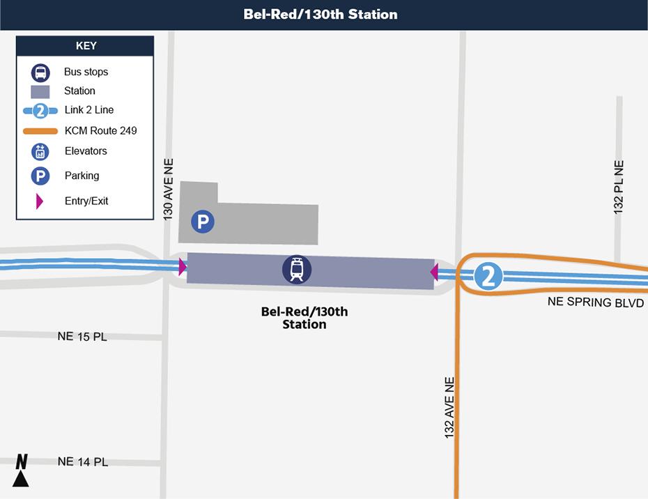 Bản đồ địa điểm này cho thấy vị trí của Ga Bel-Red / 130th đối với khu phố xung             quanh, nêu ra các đường phố lân cận, trạm xe buýt và các lộ trình             được đề nghị sẽ phục vụ khi mở cửa.