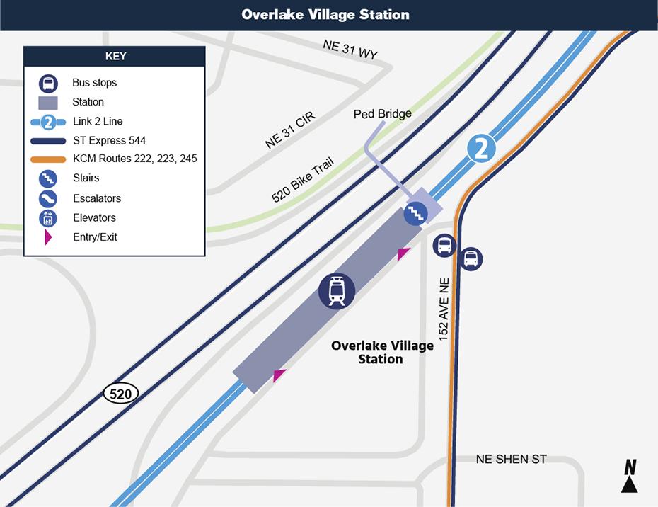 Bản đồ địa điểm này cho thấy vị trí của Ga Overlake Village đối với khu phố xung             quanh, nêu ra các đường phố lân cận, trạm xe buýt và các lộ trình             được đề nghị sẽ phục vụ khi nó mở cửa.