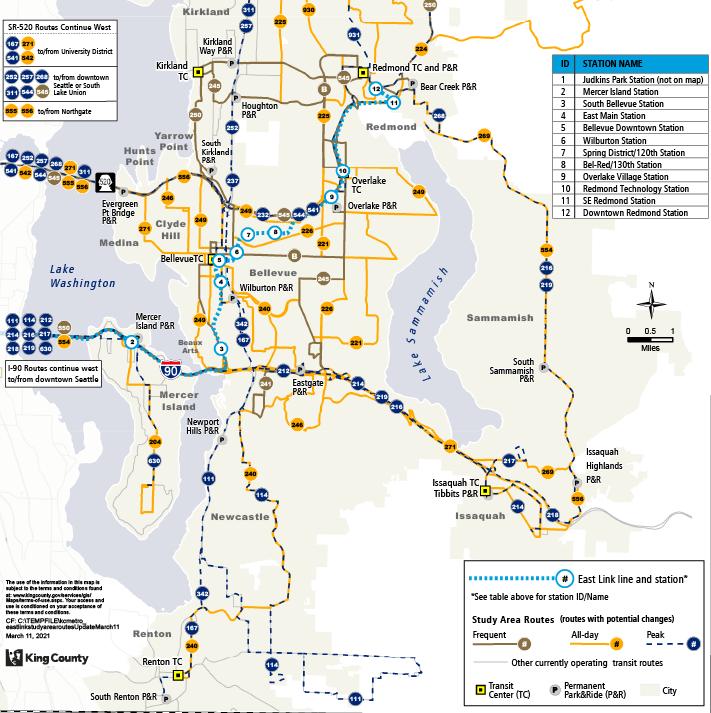 Bản đồ này cho thấy khu vực nghiên cứu Kết nối Link Phía Đông và các lộ trình xe buýt ở phía đông Quận King, cũng như nơi Tuyến 2 Link sẽ hoạt động. Bản đồ này cũng xác định lộ trình nào thường xuyên, cả ngày và giờ cao điểm.