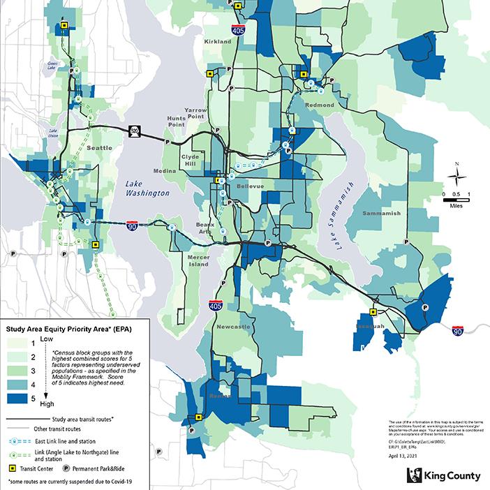 Bản đồ này cho thấy khu vực nghiên cứu Kết nối Link Phía Đông và các khu vực ưu tiên bình đẳng liên quan (EPA) theo khối điều tra dân số. Các khối điều tra dân số được phân loại theo sắcđộ màu từ thấp đến cao với điểm kết hợp cho 5 yếu tố đại diện cho dân số không được phục vụ - như được quy định trong Khuôn mẫu Vận chuyển của Quận King. Điểm số 5 cho thấy nhu cầu cao nhất.