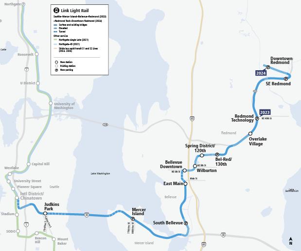 Bản đồ này cho thấy Tuyến 2 Link sẽ mở rộng đường sắt nhẹ giữa Seattle và Trung tâm thành phố Redmond thông qua I-90. Tuyến 2 sẽ gặp Tuyến 1 tại Ga International District/Chinatown và tiếp tục về phía bắc. Seattle đến Ga Redmond Technology sẽ mở cửa vào năm 2023 và các ga SE Redmond và  Downtown Redmond sẽ mở cửa vào năm 2024.
