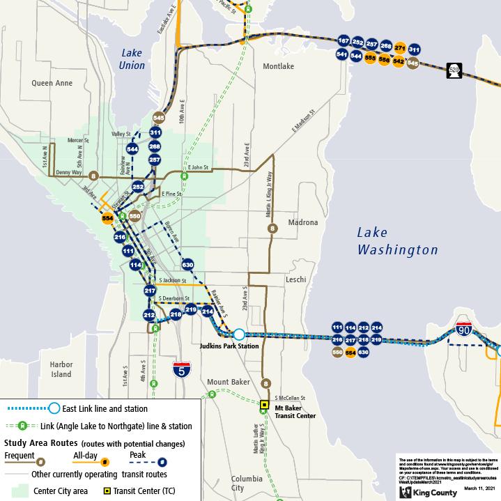 Bản đồ này cho thấy khu vực nghiên cứu Kết nối Link Phía Đông và các lộ trình xe buýt kéo dài qua Lake Washington và hoạt động vào khu vực Seattle, cũng như nơi Tuyến 2 Link sẽ hoạt động ở Seattle. Bản đồ này cũng xác định lộ trình nào thường xuyên, cả ngày và giờ cao điểm.